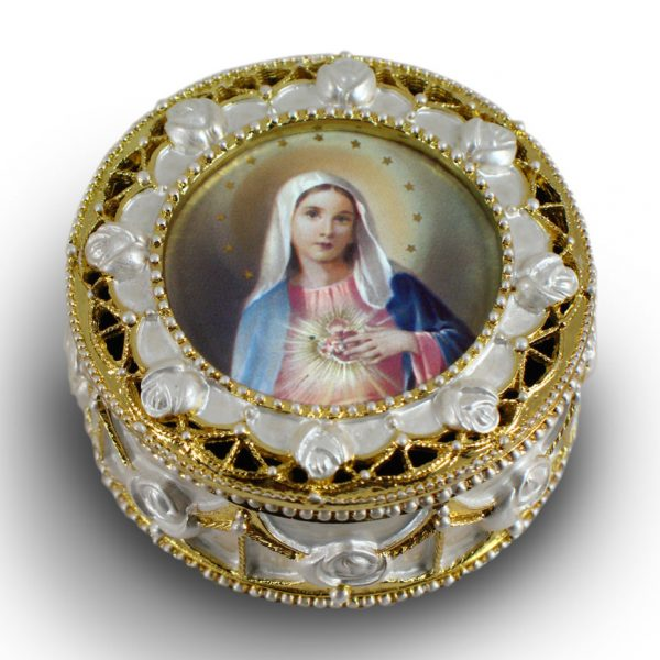 Immaculate Heart of Mary Gold Rosary Box