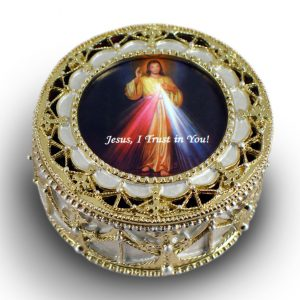 The Divine Mercy Gold Rosary Box #489-DM-0