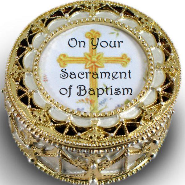Baptism Gold Rosary Box #489-BAP-0