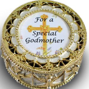 Godmother Gold Rosary Box #489-GM-0