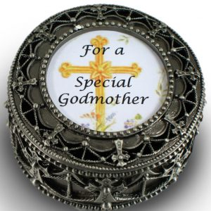 Godmother Pewter Cross Rosary Box #4892-GM-0