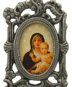 Queen of Angels Mini Oval Pewter Frame #MPFO-QA-0