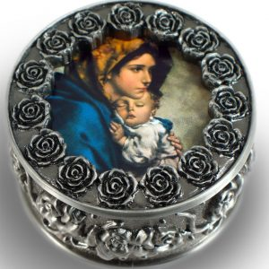 Madonna of the Streets Pewter Rosary Box #PRBX-MS-0