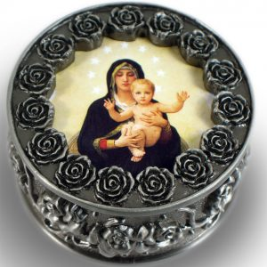 Queen of Angels Pewter Rosary Box #PRBX-QA-0