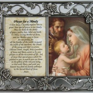 Holy Family Pewter Frame with prayer #23DPF-HF-0