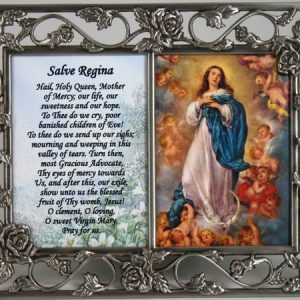 Immaculate Conception Rose Pewter Frame with prayer #23DPF-IC-0