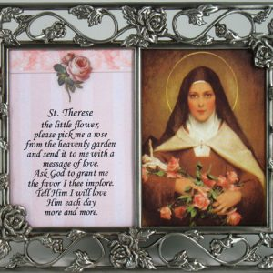 St.Therese Pewter Frame with prayer #23DPF-STT-0