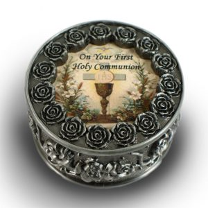 Communion Pewter Rosary Box #PRBX-HC3-0