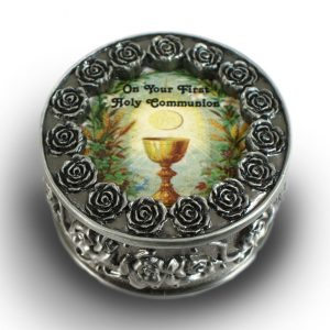 Communion Pewter Rosary Box #PRBX-HC4-0