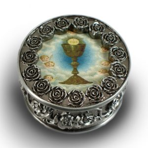 Communion Pewter Rosary Box #PRBX-HC5-0
