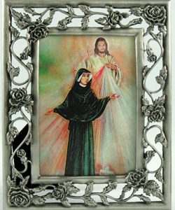 St. Faustina & Divine Mercy 3x5 Pewter Frame#23PF-BF2-0
