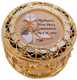Personalized Communion Rosary Box #489-HC10-P-0