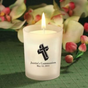 FROSTED GLASS CANDLE HOLDER WITH WAX 5863S-0